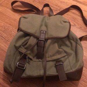 Army green canvas backpack w/ faux brown leather